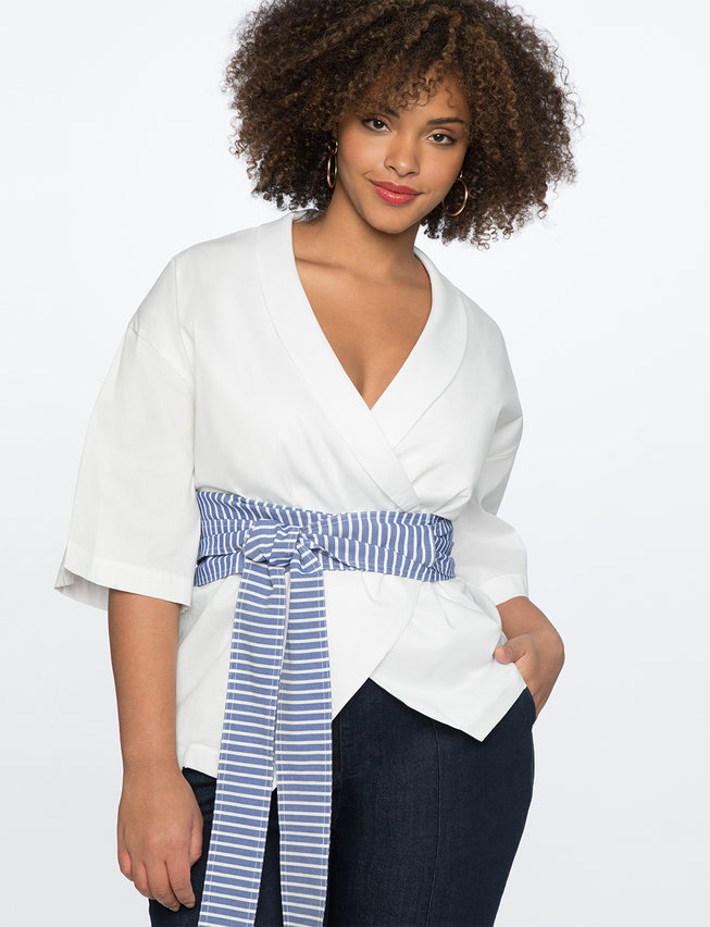 Wrap Top with Striped Belt