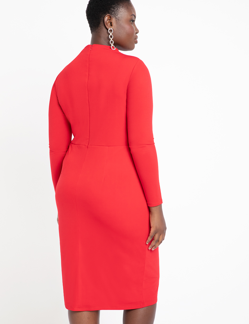 Ruched Front Dress with Slit