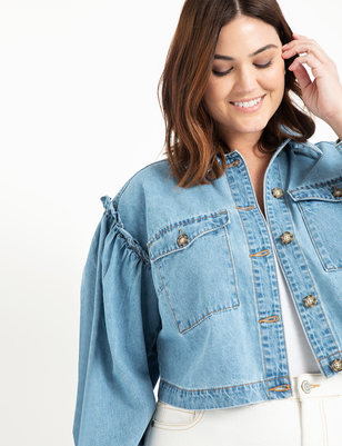 Crop Denim Jacket with Puff Sleeves