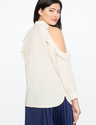 Cutout Ruffle Mock Neck Blouse