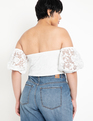 Off the Shoulder Lace Top Soft White