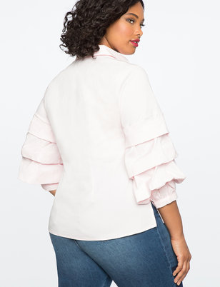 Tiered Pleat Sleeve Top