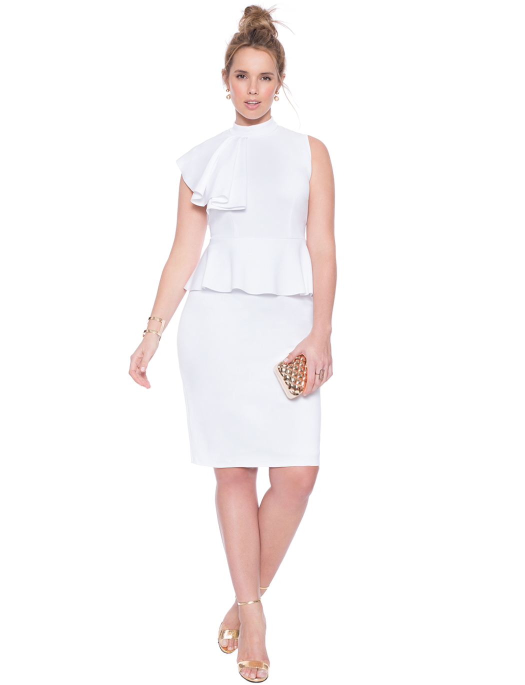 White ruffle dress plus size