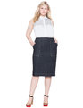 Denim Pencil Skirt Dark Indigo Wash