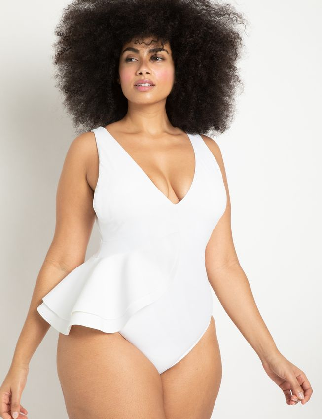 Asymmetric Peplum Swimsuit