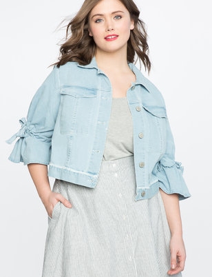 Tie Sleeve Denim Jacket