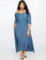 Off the Shoulder Chambray Dress CHAMBRAY