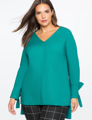 Hi-Lo Tunic with Tie Sleeve Detail