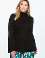 Flare Sleeve Tunic Sweater with Slits Totally Black