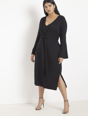 Tie Waist Flare Sleeve Midi Dress