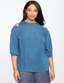 Chambray Cold Shoulder Puff Sleeve Top
