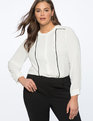 Contrast Mandarin Collar Blouse Soft White with Black Trim