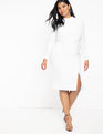 Ruched Front Dress with Slit True White