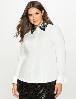 Studio Lace Collar Button Down Blouse