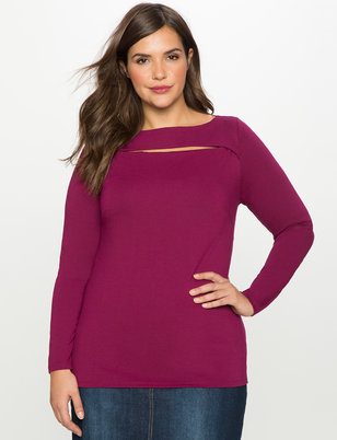 Slit Front Boatneck Top
