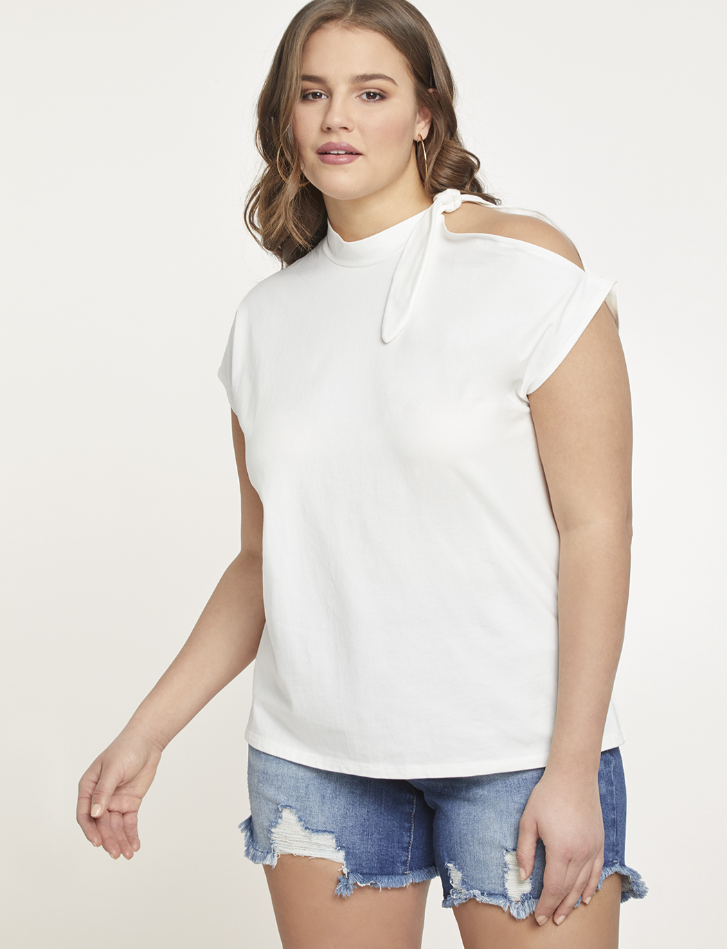 d24761e3bbb3 Tie Neck Open Shoulder Tee