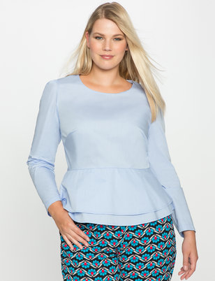 Double Peplum Poplin Top