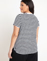 Stripe Crew Neck Tee Black + White Stripe