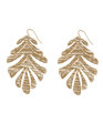 Textured Leaf Earrings Gold
