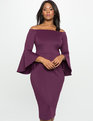 Studio Off the Shoulder Flare Sleeve Dress GRAPE ROYALE