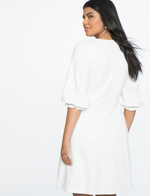 Gathered Sleeve V-neck Dress