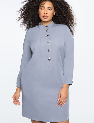 Cuffed Easy Dress with Gunmetal Buttons