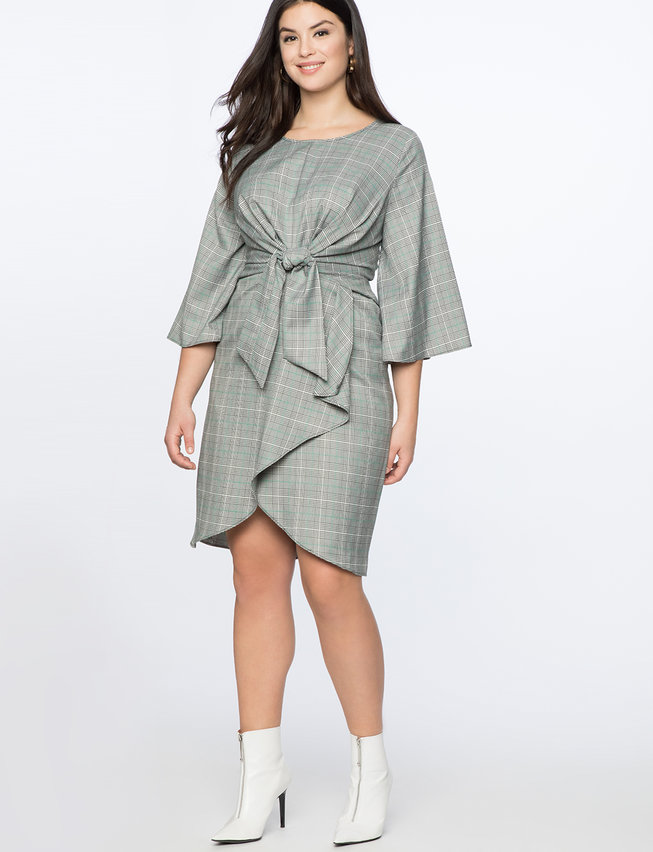 Wide Sleeve Tie Front Dress