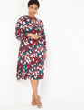 Mixed Print Tie Neck Fit and Flare Dress Petals And Paint
