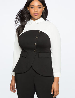 Button Front Contrast Combo Top