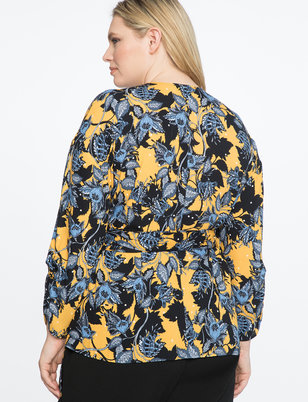 Printed Wrap Top with Draped Sleeves