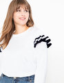 Flutter Sleeve Sweater Soft White w/ Navy Tipping