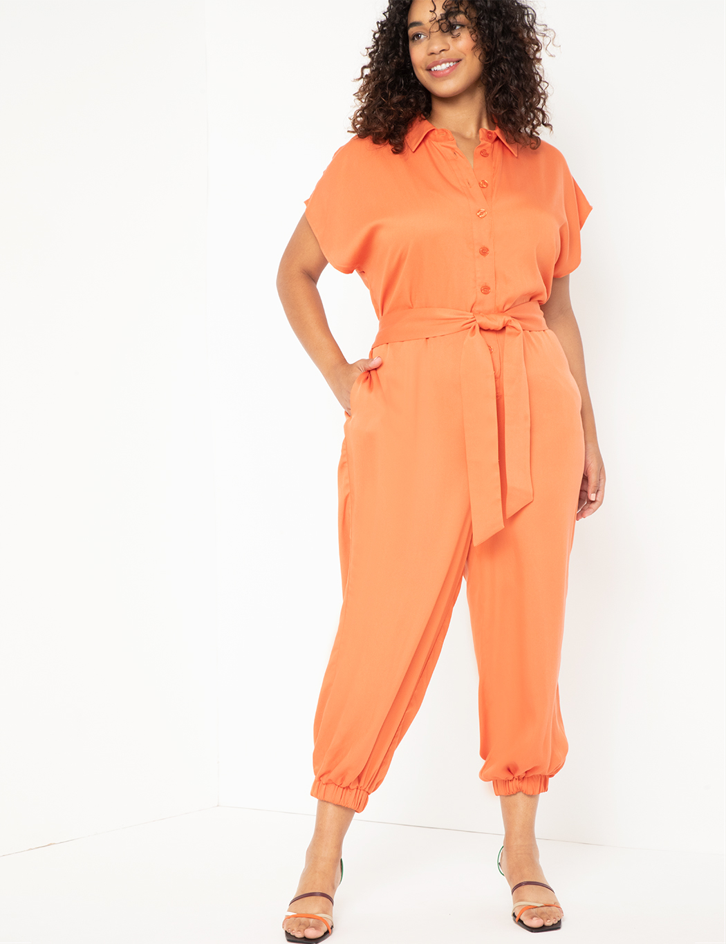 Soft Collared Jumpsuit With Cuffed Leg 12